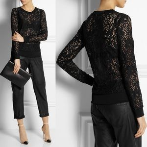Theory Sheer Lace Top Black Size Net-A-Porter XS